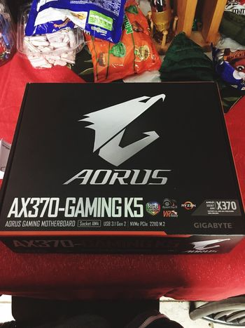 New motherboard Gigabyte Aorus Computer Part PC Computer Motherboard No People Text Communication Day