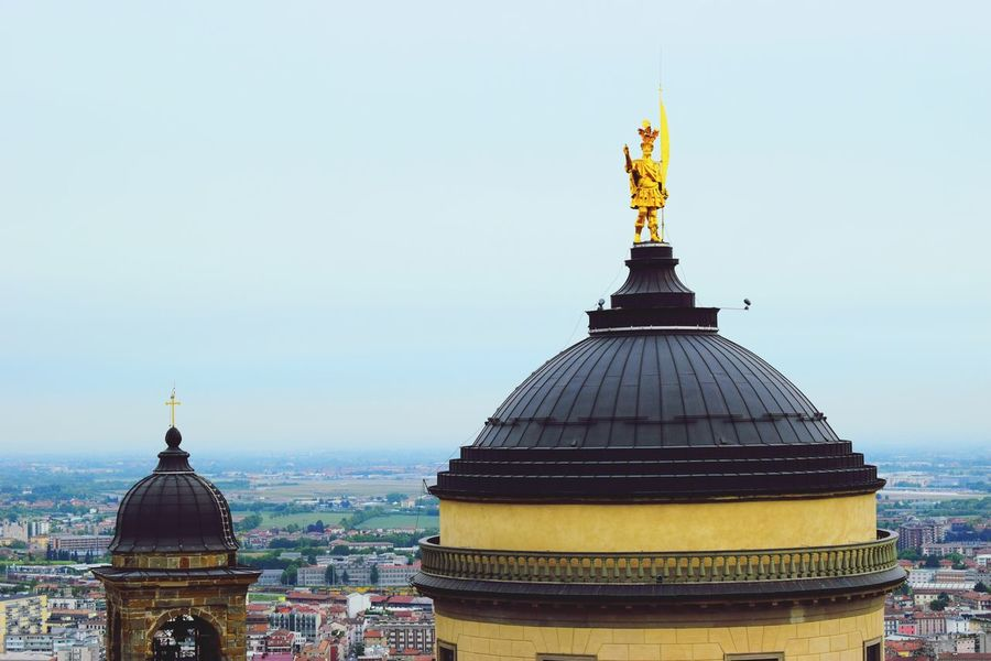Bergamo Dome Architecture Gold Colored Built Structure Religion Place Of Worship Building Exterior Statue No People Spirituality Travel Destinations Golden Color Sculpture Gold Day Outdoors Sky Clear Sky City in Bergamo, Italia