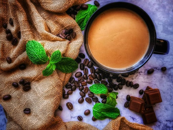 Mocha papermint Cofferlover Coffee Time Cofffebean Chocolate Textile Brown Mocha Papermint Drink Leaf High Angle View Close-up Sweet Food Food And Drink