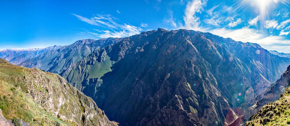 Amazing View Beautiful Nature Blue Sky Breathtaking Canyon Colca Canyon Landscape Panorama Peru South America Stunning Sun Travel Destinations Traveling