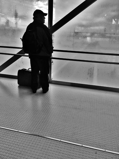 Man with the bag Real People Foggy Transportation One Person Men Indoors  Streetphotography Public Transportation Blackandwhite