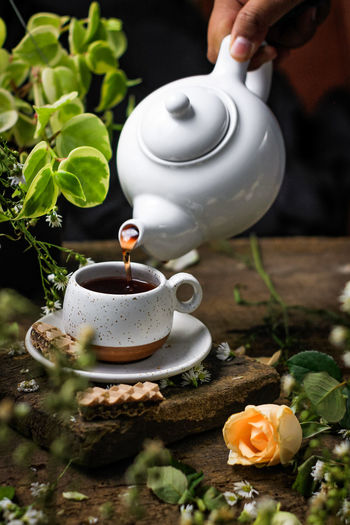 Hand holding tea cup