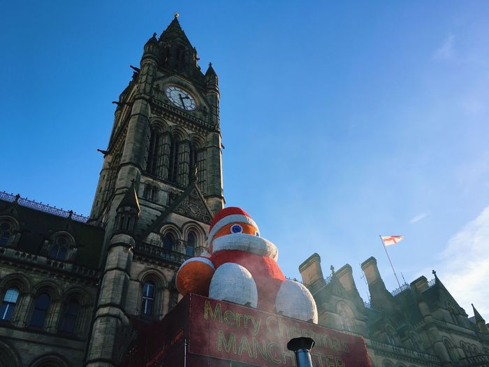 Low Angle View Architecture Building Exterior Clock Tower Albert Square Manchester Christmas Decorations Blue Sky