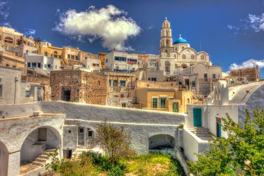 Blue dome church at the top of Pyrgos village Architecture Built Structure Building Exterior History Sky Cloud - Sky Outdoors Day No People Blue Tree Nature City View  Travel Destinations Architecture Tourism Cityscape