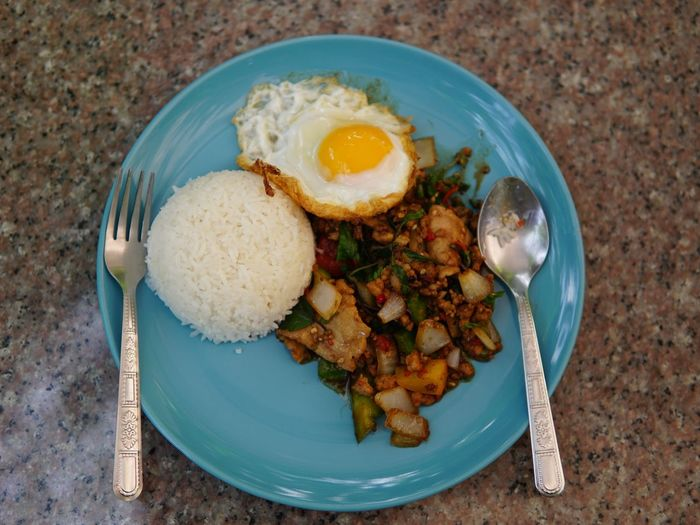 Ordinary Thai dish Rice Thai Food No People No Person Egg Sunny Side Up Sunny Side Up Plate High Angle View Fork Egg Close-up Food And Drink Fried Spoon