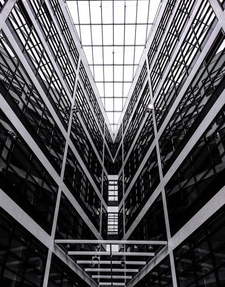 Architecture Built Structure Indoors  Low Angle View Modern Day No People Futuristic City Sky Politics And Government Berlin Photography Berliner Ansichten Berlin Spd Black And White Friday