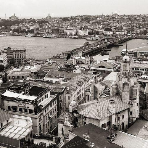Galata Bridge Istanbul Architecture Building Exterior Built Structure City High Angle View Cityscape Transportation
