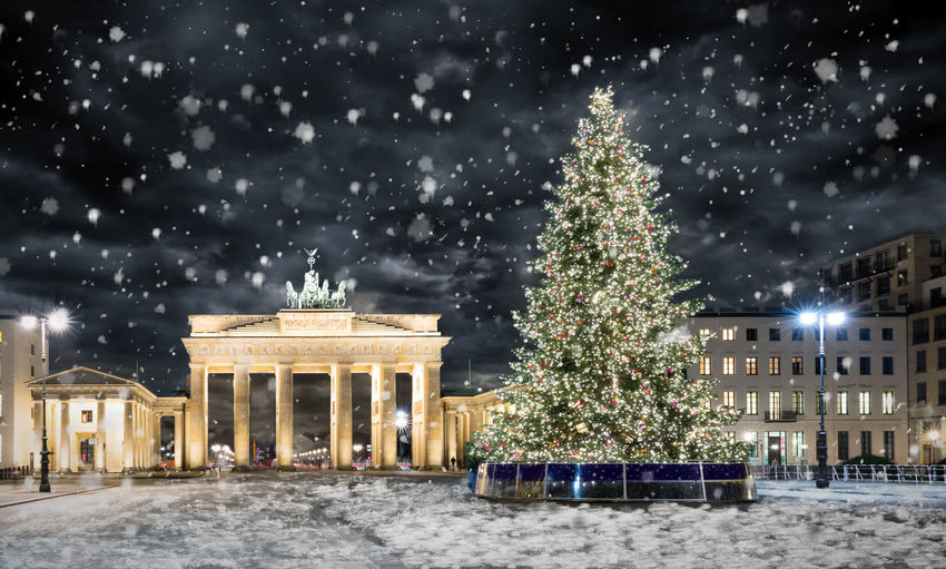 Brandeburg Gate in Berlin at night with Christmas tree and snowfall Architecture Christmas Christmas Decoration Christmas Lights Christmas Tree City City Gate Cold Illuminated Landmark Night No People Outdoors Snow Snowing Travel Destinations Tree Winter