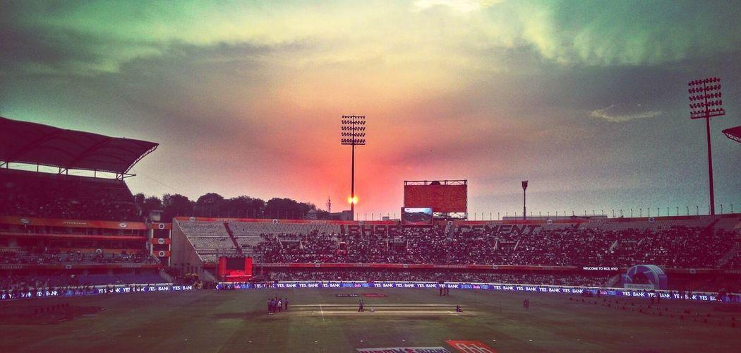 Stadium Sports Event  IPLFever Sunset Nature Cloud - Sky Dramatic Sky Floodlight Sky Orange Sky Beauty In Nature Hdreffect