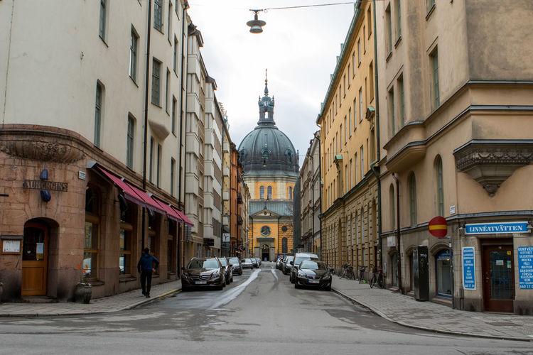 Road along buildings