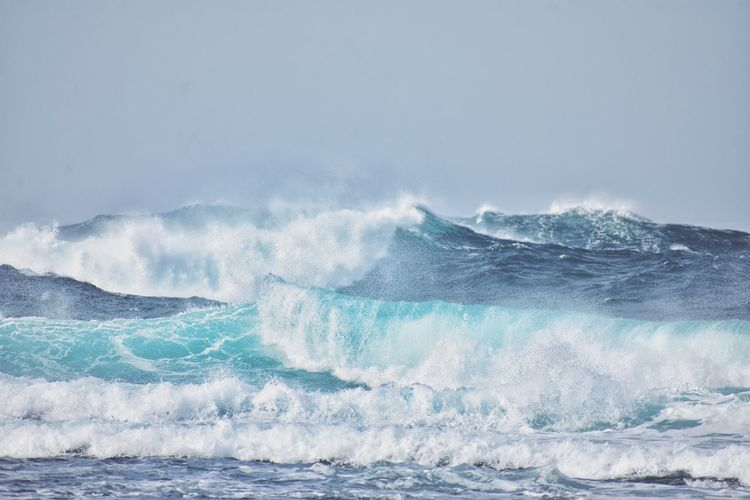Atlantic ocean waves on fuerteventura canary island in spain