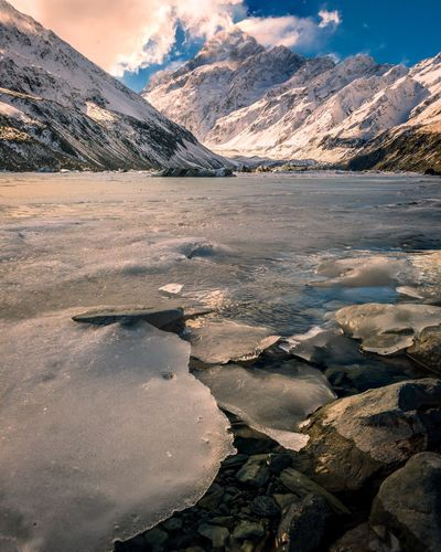 Mount Cook Mountain Snow Lake Nature Ice Beauty In Nature Landscape Scenics Cold Temperature Mountain Range Tranquil Scene Frozen Glacier Water Polar Climate Travel Destinations Outdoors Winter Tranquility Snowcapped Mountain New Zealand Landscape_photography New Zealand Scenery Low Angle View Ice