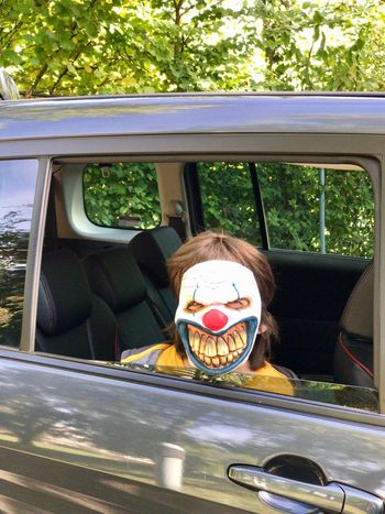 Car Transportation Car Interior Land Vehicle Driving One Person Day Outdoors People Child Human Body Part Close-up Scary Party Nature Adult Halloween Jack O Lantern Mask Blood Halloween Horrors Maskarade Loisir Party Time Spooky