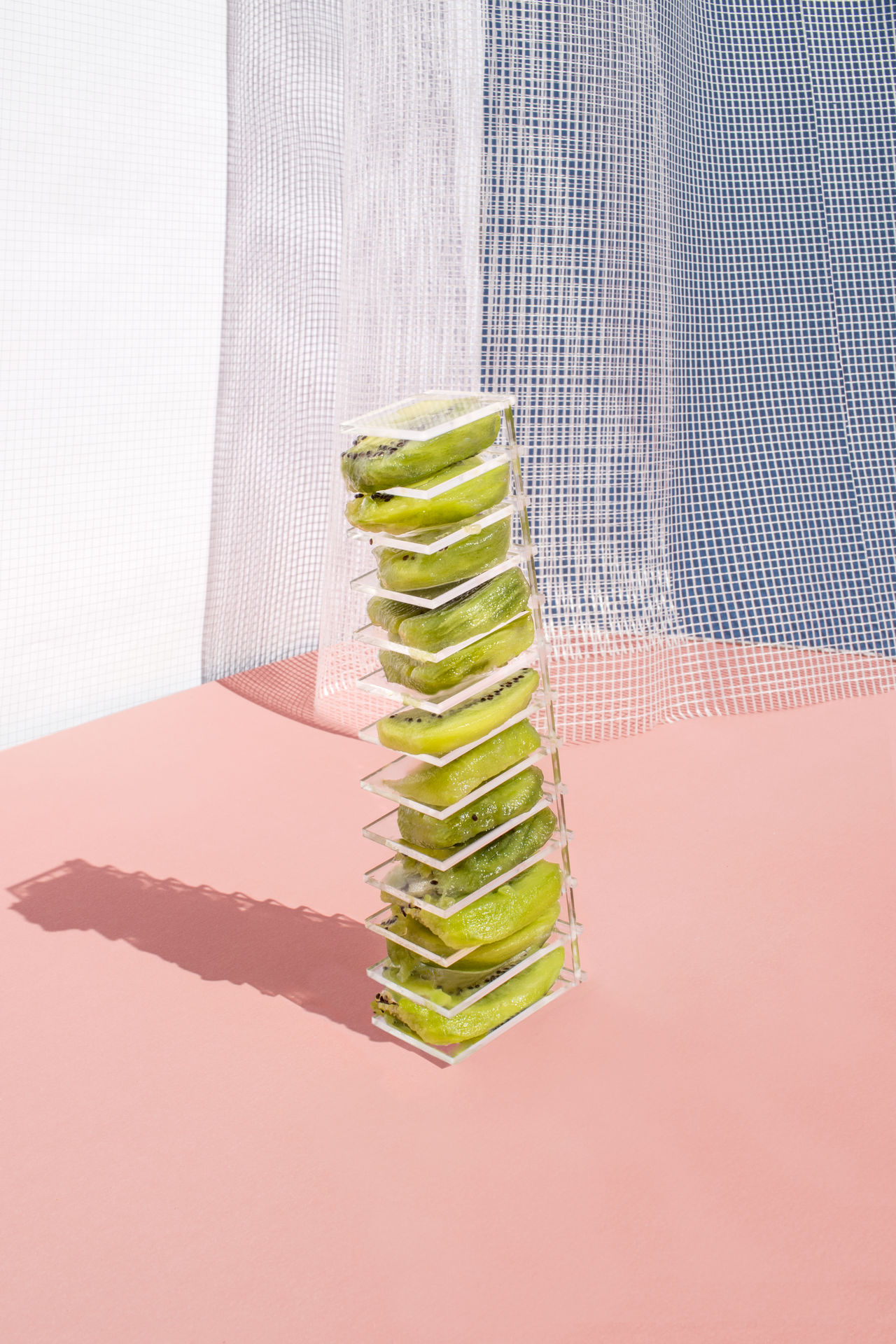Close-up of fruit in stack on table