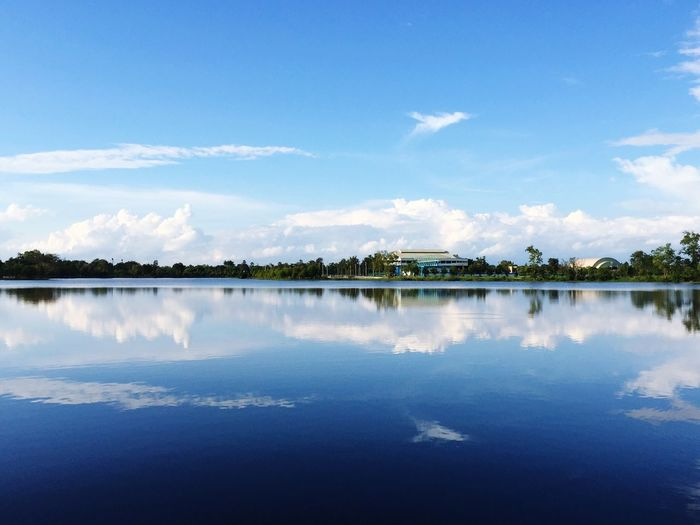 UbonRatchathaniUniversity Water Tranquil Scene Reflection Tranquility Lake Blue Beauty In Nature Sky Calm Standing Water First Eyeem Photo