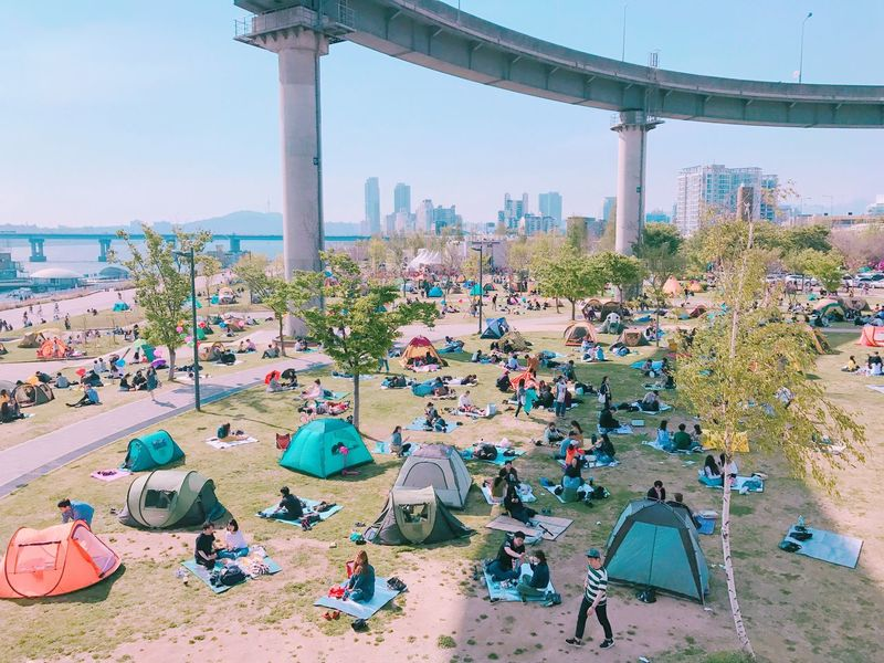 Hanriver People Picnic Festival Spring Sunny Sunny Day Outdoors Tent City Nature Sky Vacations Large Group Of People