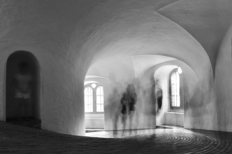 Arch Architectural Column Architecture Archway Blurred Blurred Motion Brickwork  Child Fuzzy Hiding Shadow And Light Black And White Photography Blackandwhite Photography