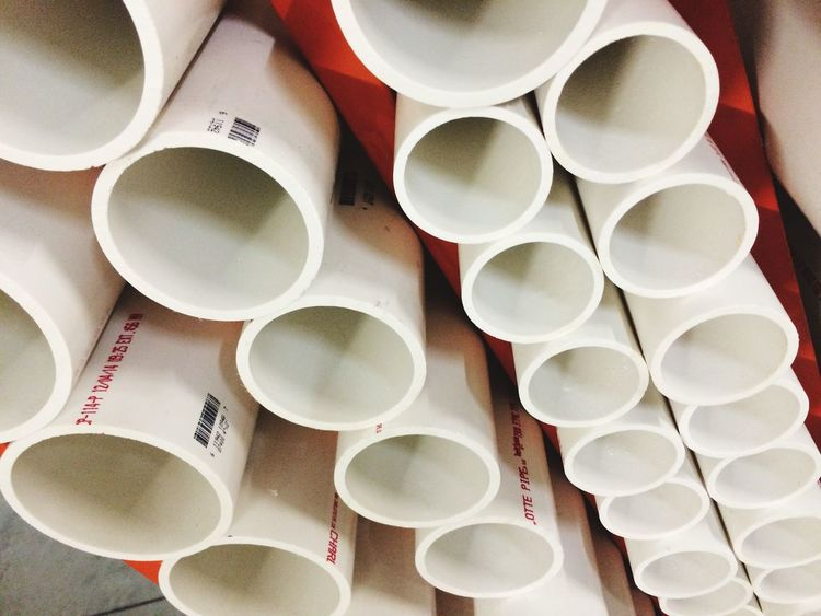 Plastic pipe White Color Plastic Pipe EyeEm Selects Large Group Of Objects Abundance No People High Angle View Arrangement Directly Above Close-up