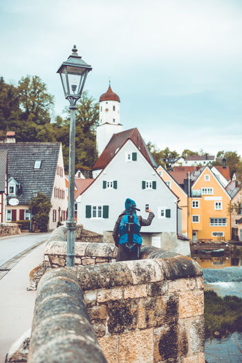 historical bridge and towncenter of Harburg in Bavaria. Bavaria Bayern Deutschland Germany Harburg In Schwaben Building Exterior Built Structure Architecture Building Place Of Worship Sky Religion Street City Nature Day Belief Residential District Outdoors No People Street Light House Sunlight