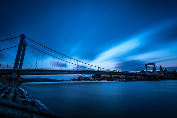 Long Exposure Copy Space Evening Sundown Sunset Bay Dusk No People Nature Travel Destinations Blue Suspension Bridge Transportation River Sky Built Structure Architecture Connection Bridge - Man Made Structure Water Bridge Riverside Riverbank Waterfront Cityscape