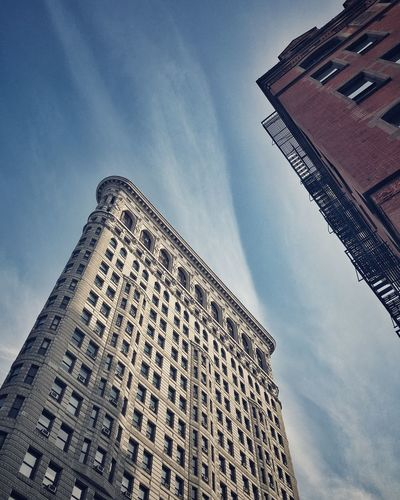 Architecture Building Building Exterior Built Structure Capital Cities  City Clouds Development Exterior Flatiron Building International Landmark Looking Up Low Angle View New York City Office Building Outdoors Perspective Skyscraper Tall Tall - High Tower Urban