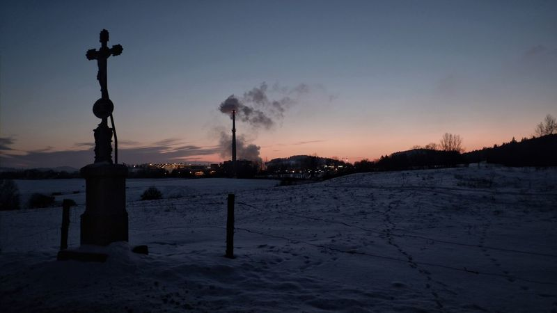 Chimney Cold Temperature Cross Dusk Factory Chimney INRI Nature No People Outdoors Silhouette Sky Smoke Snow Snow ❄ Sunset Winter Winter