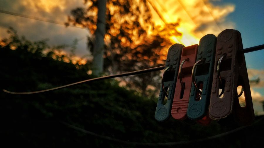 Sunset Sky Close-up Clothesline Drying Tranquil Scene Hanging Fall Non-urban Scene