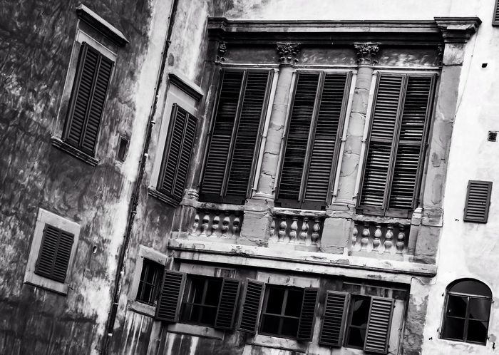 Windows and shutters at the Pitti Palace in Florence, Italy. Italy Italia Florence Firenze Firenzemadeintuscany Tuscany Palazzo Pitti Architecture Buildings Europe Bnw Bnw_collection Bnw_captures Bnw_life Bnw_society Bnwphotography Blackandwhitephotography Blackandwhite Photography Blackandwhite Black And White Photography Black & White