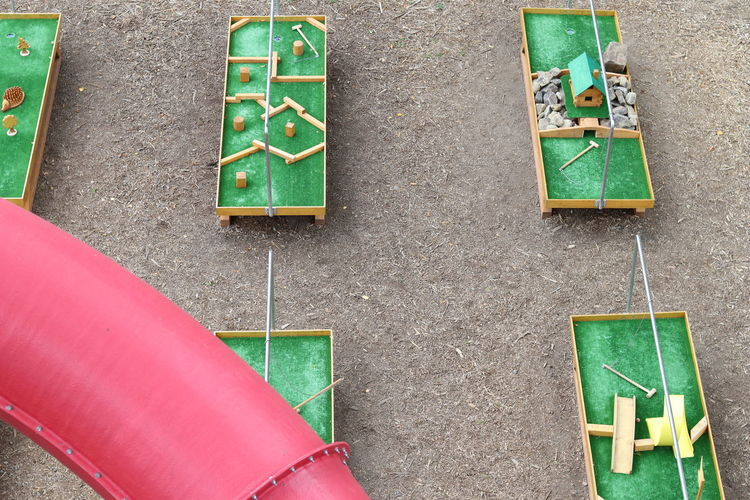 High angle view of text on playground