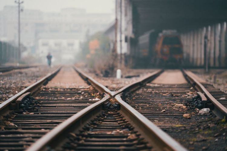 Railway lines in China Rail Transportation Track Railroad Track Transportation Mode Of Transportation The Way Forward Diminishing Perspective Outdoors Nature No People Metal Day Direction Public Transportation Selective Focus vanishing point Train - Vehicle Train Architecture Surface Level