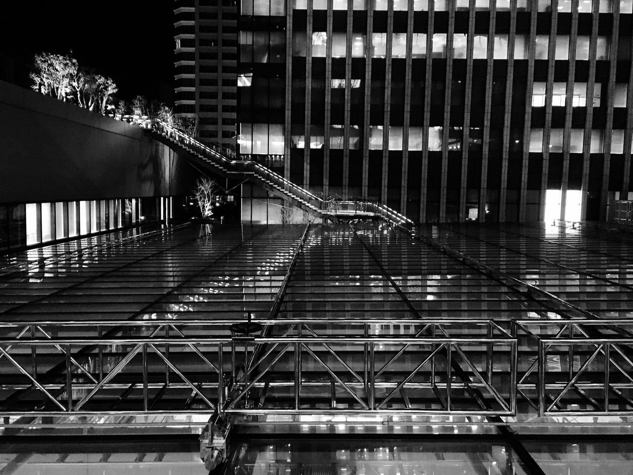 architecture, built structure, night, railing, illuminated, connection, bridge - man made structure, transportation, building exterior, no people, outdoors, modern, city
