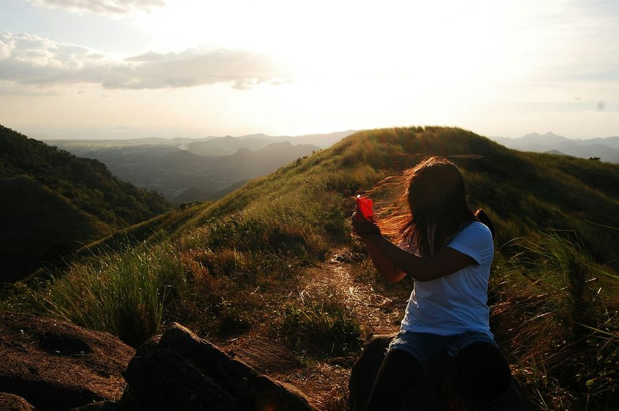Selfie Mountain Friend Eyeem Philippines Selfie Time Vacations Sky Nature Looking At View Tranquility Countryside Person Cloud Non-urban Scene Remote Nature Getaways