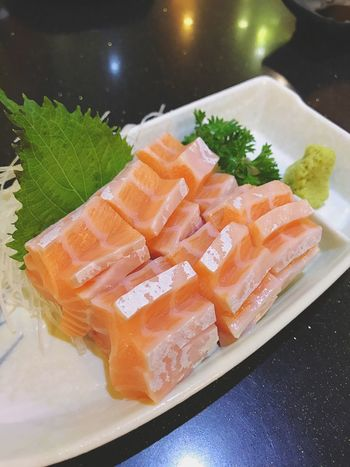 Food Food And Drink Freshness Still Life Seafood Healthy Eating Japanese Food No People Plate Serving Size Sushi High Angle View Close-up Indoors  Raw Food Sashimi  Table Leaf Ready-to-eat Day Sashimi Dinner Salmon Sashimi SalmonLove EyeEm Best Shots Eyeem Food