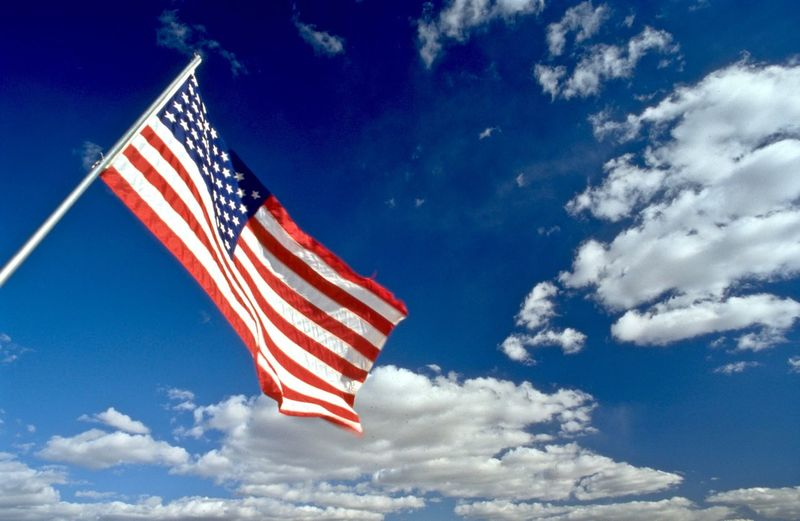 USA flag agains beautiful sky Analogue Photography Nation Faith Vision Future Stars And Stripes USA Iconic EyeEm Selects Sky Patriotism Flag Cloud - Sky Low Angle View Striped No People Symbolism National Icon Freedom Independence Outdoors Wind Red Blue Day White Color Star Shape