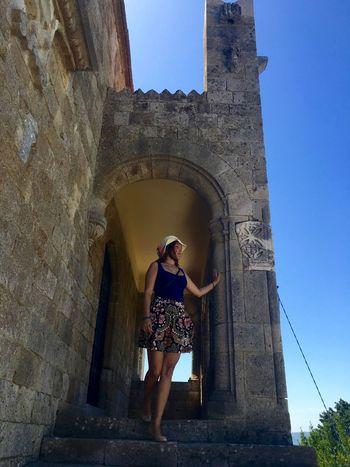 Arch Architecture Built Structure Castle Filerimos History Leisure Activity Outdoors Portrait Rhodes Ródos Standing Tourism Tourist Travel Destinations Young Women
