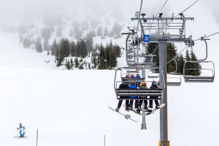 Snow Day on Cypress Mountain Adventure Beauty In Nature Cable Cold Temperature Day Frozen Landscape Leisure Activity Mountain Nature Outdoors Overhead Cable Car Real People Scenics Ski Holiday Ski Lift Sky Snow Transportation Tree Vacations Weather Winter