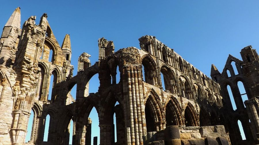 Exterior Of Whitby Abbey Against Clear Sky