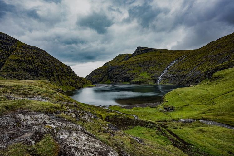Faroe Islands Scenics Tranquil Scene Mountain Nature No People Cloud - Sky Sky Outdoors Waterfall Water Idyllic Beauty In Nature Travel Destinations Tranquility Landscape Grass