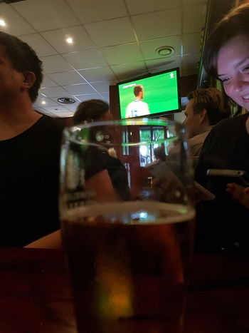 Drink Adult People Indoors  Drinking Glass Bar - Drink Establishment Alcohol Food And Drink Real People Beer O'clock I Love Beer Relaxing Beer - Alcohol At The Bar Pub Beer Beer Time Close-up Friends Sports Football Soccer
