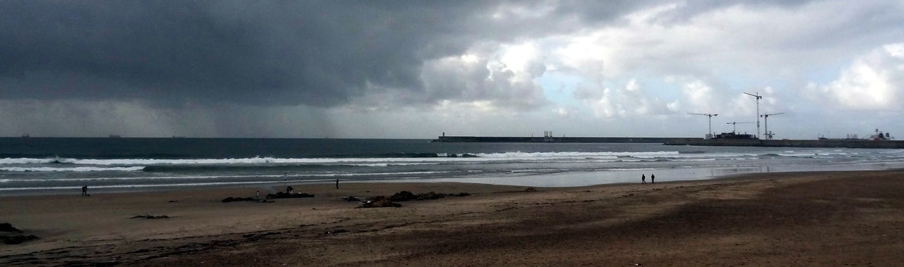 ocean panorama Beach Silhouette Atlantic Ocean Coastline Clouds And Waves Rain Over The Ocean Beauty In Nature Horizon Over Water Nature And People Incidental People Shore Cloud - Sky