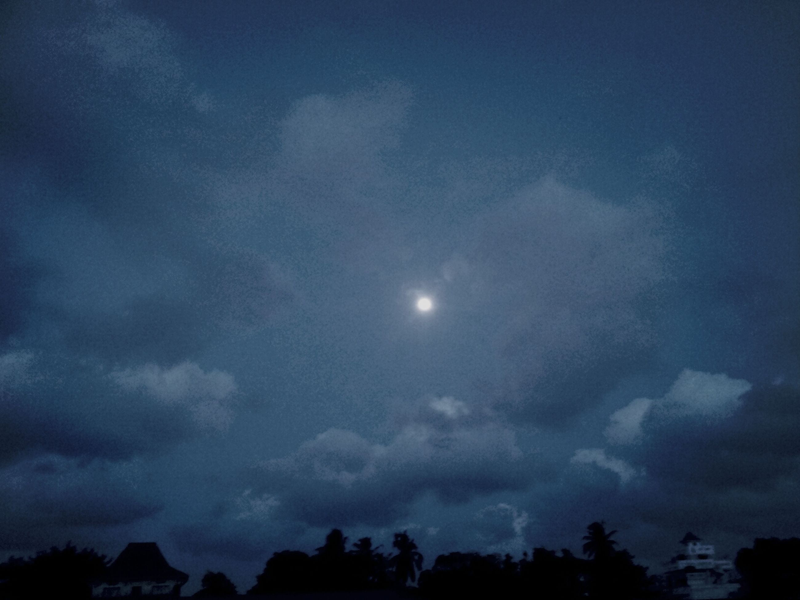 sky, beauty in nature, scenics, cloud - sky, low angle view, tranquility, tranquil scene, nature, silhouette, moon, cloudy, weather, idyllic, night, cloud, dusk, tree, majestic, storm cloud, cloudscape