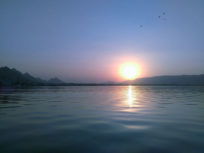 The sunrise at the 'Ana sagar' Lakes at Ajmer RajasthanIndia Morning Sun Water Lake Sky Mountains Landscapes With WhiteWall Things I Like My Favorite Placewith Lenovo A6000 Light And Reflection