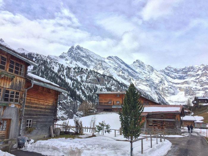 Winter Wintertime Snow Cold Hill Mountains Mountain Resort Switzerland Outdoors Cottage Village Chalet Landscape Deserted House Hut Hotel Alps