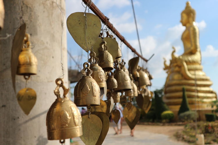 Art And Craft Bell Buddha Close-up Cultures Focus On Foreground Hanging No People Temple Tradition Wishes Praying