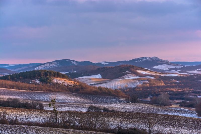 Mountain Nature Beauty In Nature Scenics Mountain Range Cold Temperature Snow Winter Tranquility Sky Landscape Outdoors Tranquil Scene No People Cloud - Sky Day Sunset Hungary Winter Field Gerecse Kéktúra