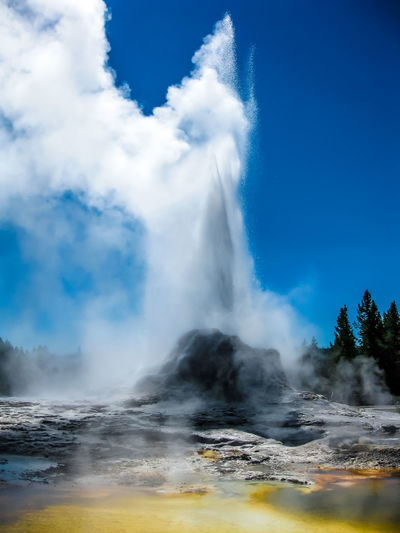 Geyser Spraying At Yellowstone National Park