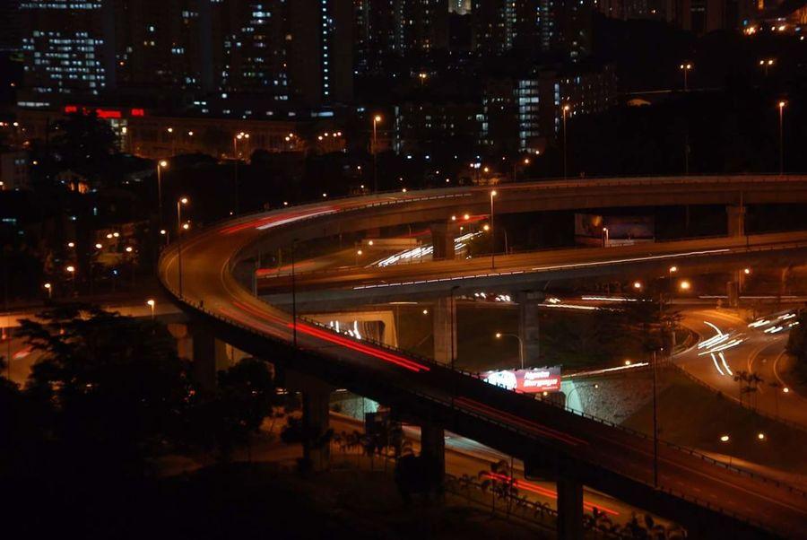 Night City Illuminated Motion Light Trail Long Exposure Traffic Red Highway Speed City Life Outdoors Cityscape Bridge - Man Made Structure City Lights Flyovers Nightphotography Nightlights