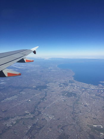 Flying over Melbourne from Avalon airport Aerial View Aircraft Wing Beauty In Nature Blue Cloud Coastline Cropped Day Horizon Over Water Idyllic Journey Landscape Mode Of Transport Mountain Nature No People Ocean Outdoors Part Of Scenics Sky Tranquil Scene Tranquility