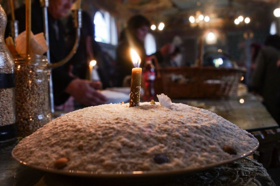 Alms Giving Orthodoxy Candle Food And Drink Illuminated Food Burning Indoors  Cake Sweet Food Freshness Selective Focus Focus On Foreground Fire Flame Celebration Dessert Christmas Cake Christmas Baked Close-up Still Life