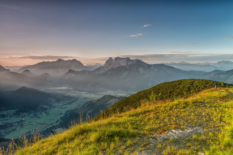 Austria Beauty In Nature Cloud - Sky Day Fog Gesäuse Grass Landscape Mountain Mountain Range Nature No People Outdoors Scenics Sky Styria Sunset Tranquil Scene Tranquility